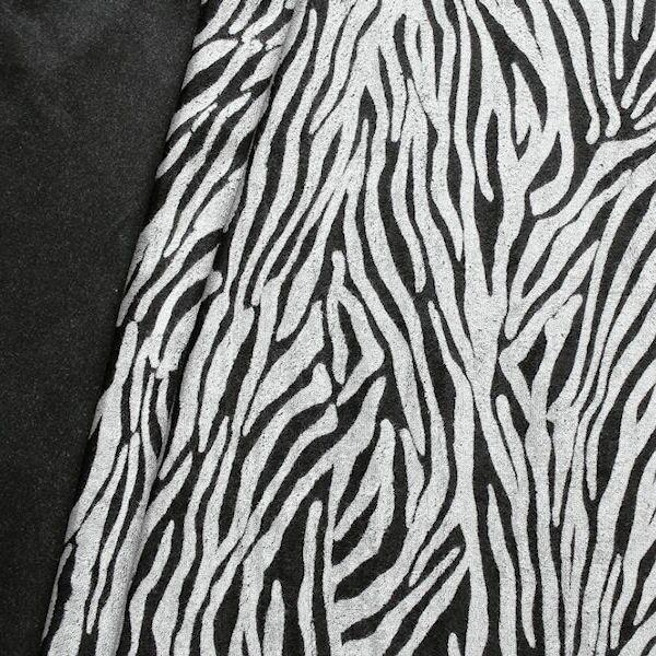 """Sweatshirt Baumwollstoff """"Animal Print 10"""" Farbe Schwarz-Grau"""