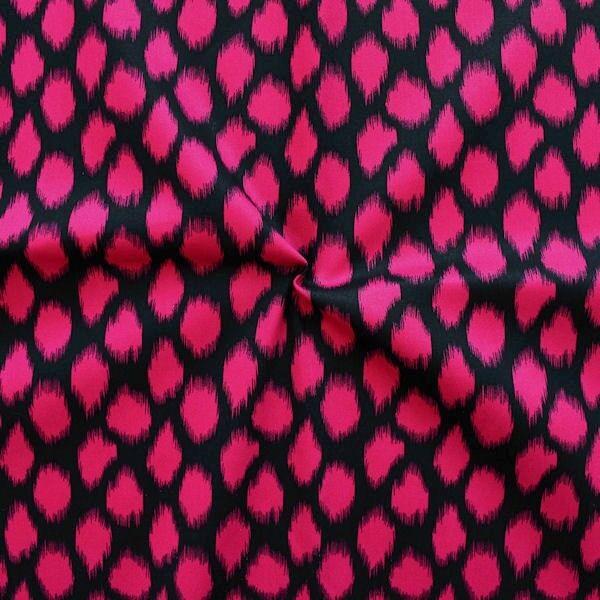 "Stretch Baumwollstoff ""Diamonds"" Farbe Schwarz-Pink"