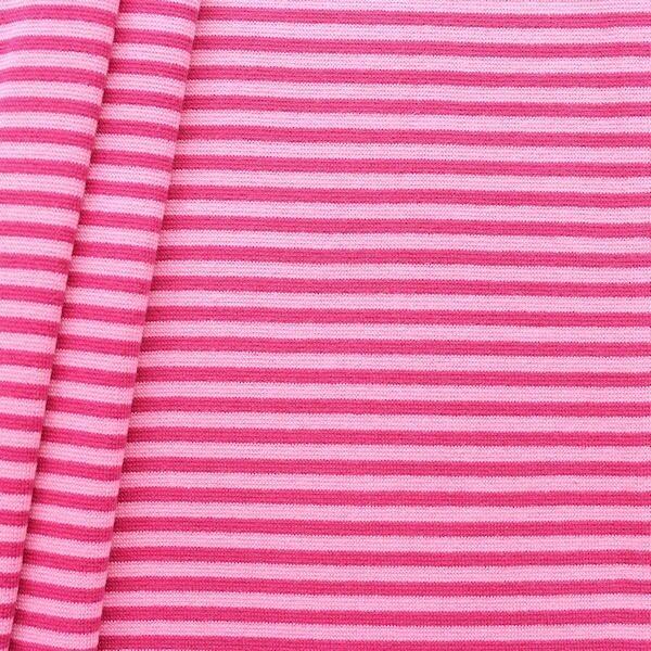 Baumwoll Bündchenstoff Ringel glatt Pink-Rosa