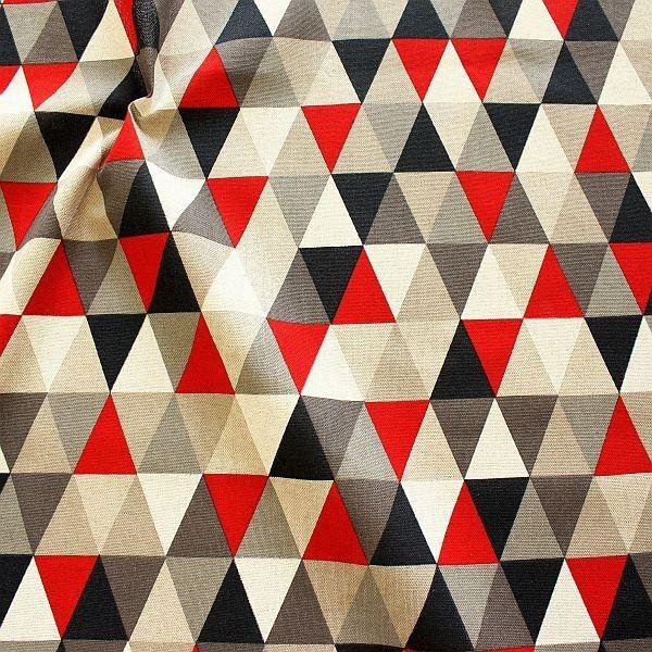 Dekostoff Halbpanama Leinen Optik Dreiecke Natur-Rot