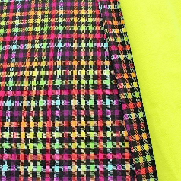 Softshell Fleece Stoff Karo Neon Multicolor-Gelb