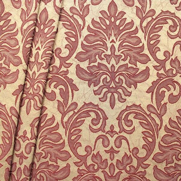 Dekostoff Jacquard Floral Barock Beige-Weinrot