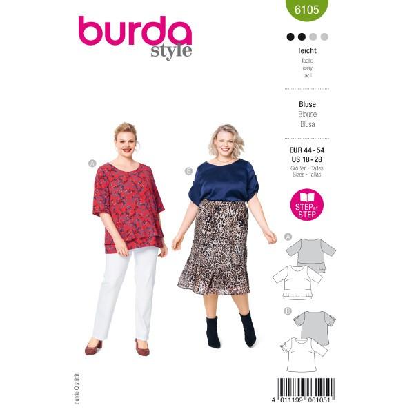 Shirtbluse mit Volant und Seitenschlitzen, Gr. 44 - 54 Schnittmuster Burda 6105