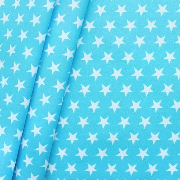 Baumwollstoff beschichtet Sterne Groß Türkis-Blau