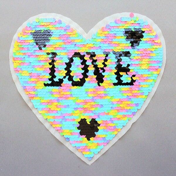Wendepailletten Patch Herz-Love Multicolor