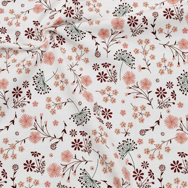 Baumwoll Stretch Jersey Wiesenblumen Mix Ecru