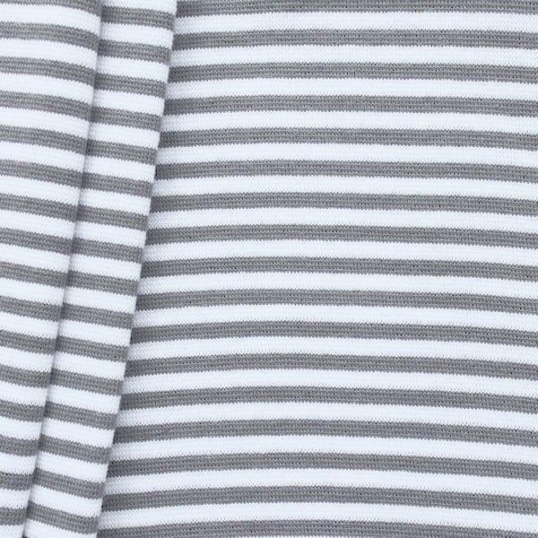 Baumwoll Bündchenstoff Ringel glatt Grau-Weiss