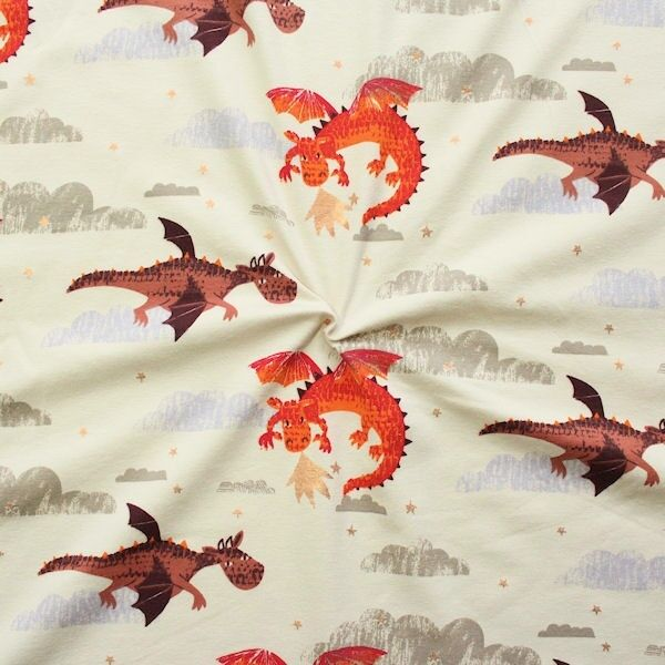Baumwoll Stretch Jersey Drachen Hell-Beige