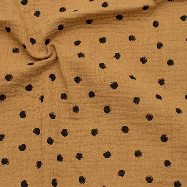 Baumwollstoff Musselin Double Gauze Schwarze Punkte Ocker-Gelb
