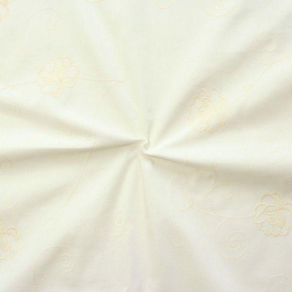 Feincord Baumwollstoff bestickt Blumenranken Creme-Weiss