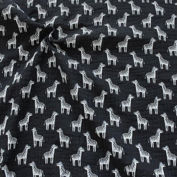 Baumwolle Musselin Zebras Schwarz