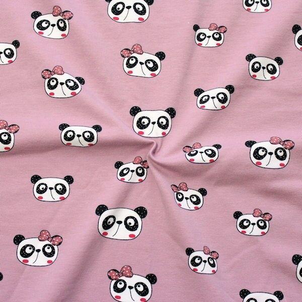 "Baumwoll Stretch Jersey ""Panda Gesicht"" Farbe Alt-Rosé"
