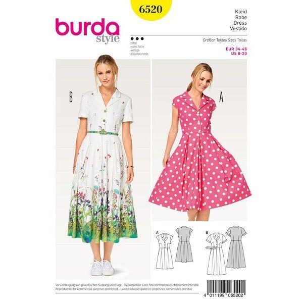 Kleid - Hemdblusenstil - Faltenrock, Gr. 34 - 46, Schnittmuster Burda 6520
