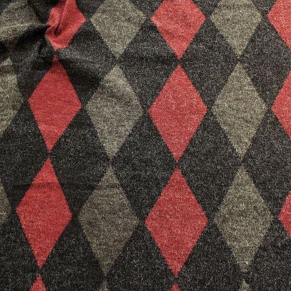 Feinstrick Jersey Woll-Optik Rauten Schwarz-Rot-Grau