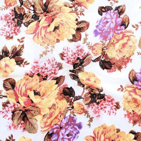 """Baumwolle Seide Musselin """"Blütenpracht"""" Farbe Weiss"""