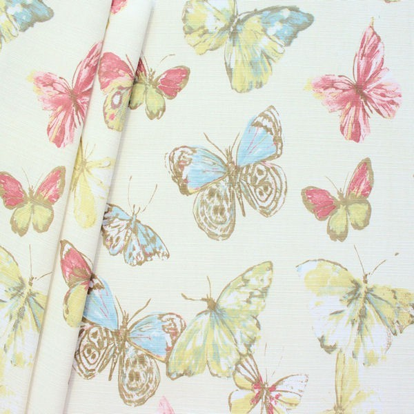 "Design Dekostoff Halbpanama ""Briarfield Blossom"" Farbe Creme-Weiss"