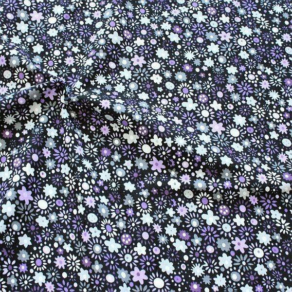 Baumwoll Stretch Jersey Blüten Mix Schwarz-Lila