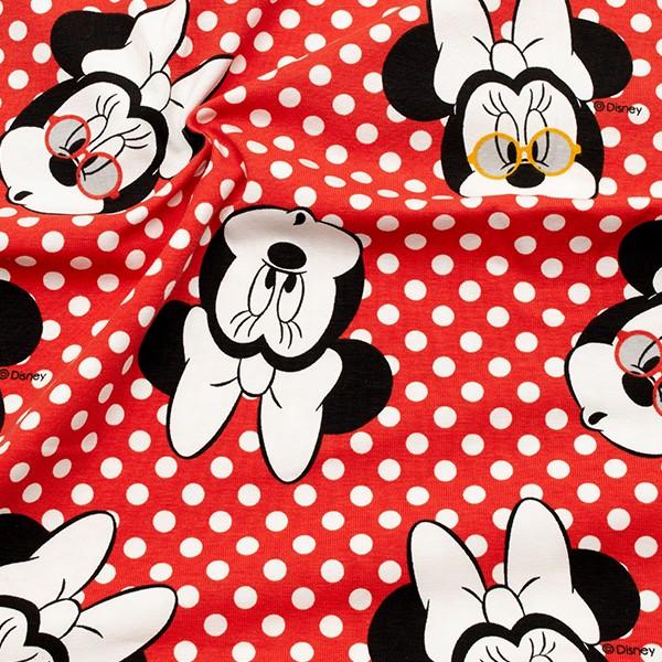Lizenz Baumwoll  Stretch Jersey Minnie Maus groß Rot