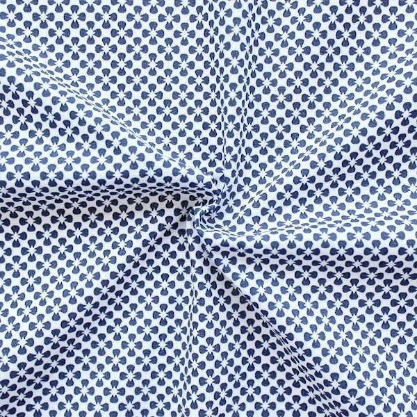Polyester Baumwolle wie Batist Blümchen Weiss-Blau