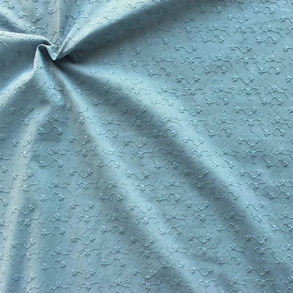 Baumwollstoff bestickt Blütenranken Tauben-Blau