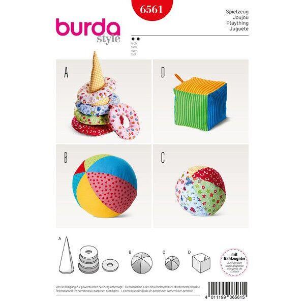 Burda Schnittmuster 6561 Babyspielzeug Ball, Würfel und Kegel mit Ringen