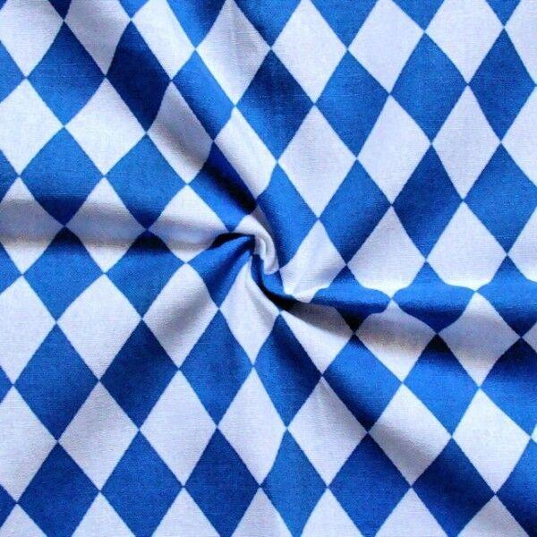 """100% Baumwollstoff """"Bayern Raute klein"""" Farbe Blau-Weiss"""