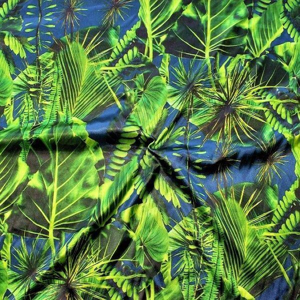 """Stretch Satin Stoff """"Tropenwald"""" Farbe Blau"""