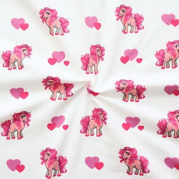 "Baumwoll Stretch Jersey ""Lovely Pony"" Farbe Weiss"
