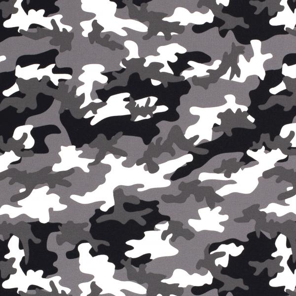 Baumwoll Stretch Jersey Camouflage Grau-Weiss