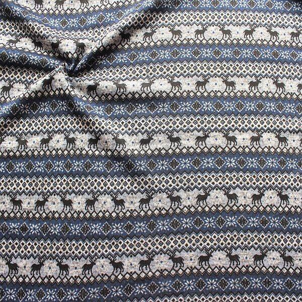 Strick Fleece Norweger Style Blau-Grau