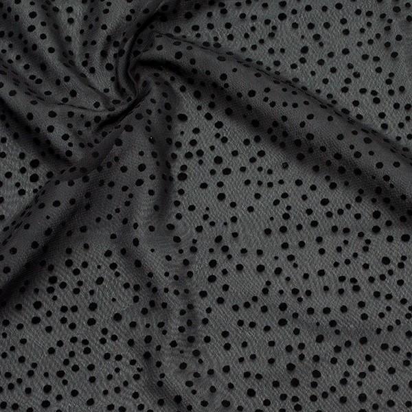 Polyester Chiffon beflockt Punkte Schwarz