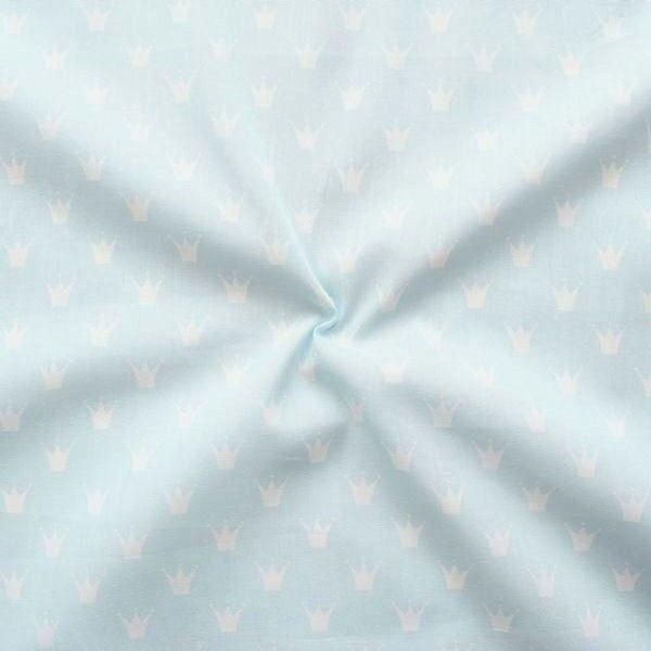 "100% Baumwolle Popeline ""Kronen klein"" Farbe Hell-Blau Weiss"