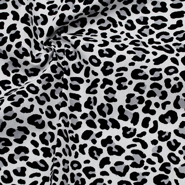 100% Baumwolle Popeline Leopard Weiss-Schwarz