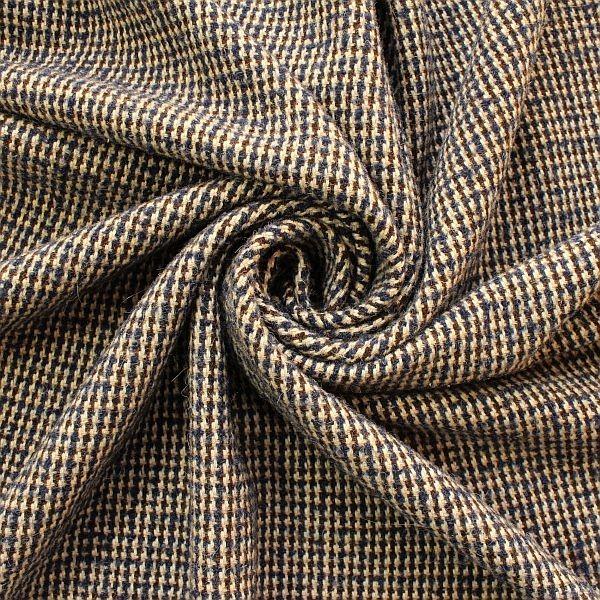Tweed Wollstoff Hahnentritt Klassik Blau-Braun