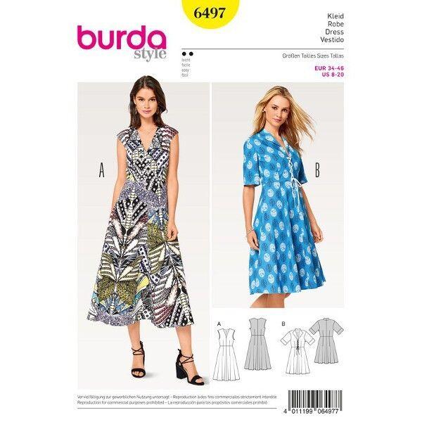 Kleid – V-Ausschnitt – Spatenkragen, Gr. 34 - 46, Schnittmuster Burda 6497