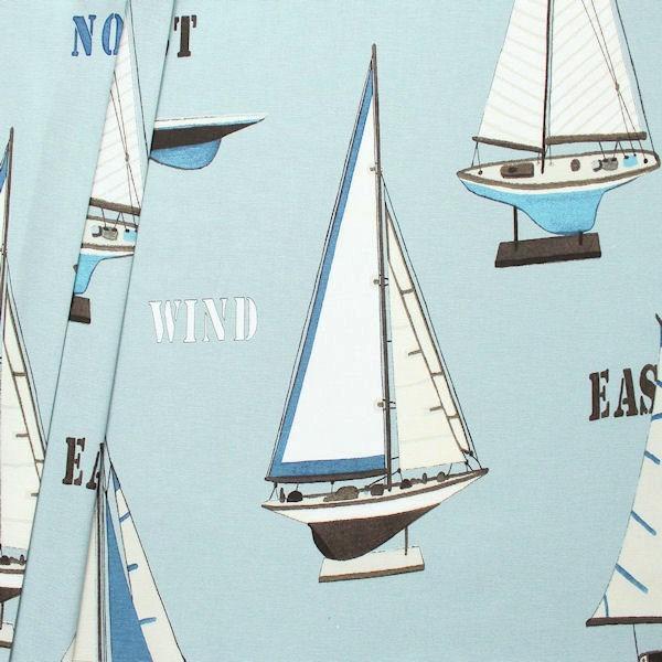 """Dekostoff Breite 280cm """"Segelboot Modelle XL"""" Farbe Pastell-Blau"""