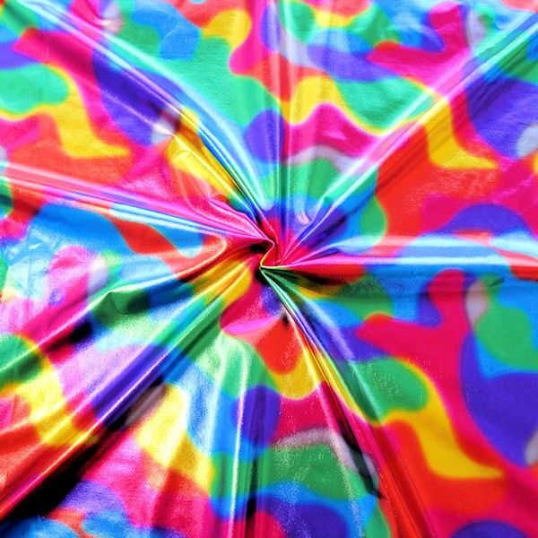 Stretch Folienjersey Regenbogen Camouflage Multicolor