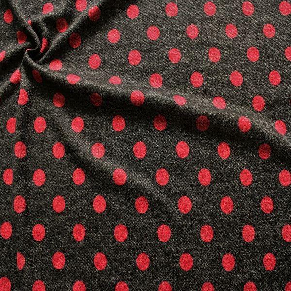 Jacquard Strick Jersey Dots Anthrazit-Rot