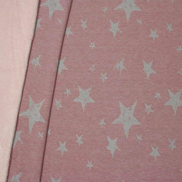 "Alpenfleece Sweatshirt ""Sterne Mix Used Look"" Farbe Pastell-Violett melange"