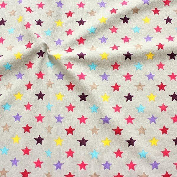 Baumwoll Stretch Jersey Bunter Sterne Mix Grau-Fuchsia