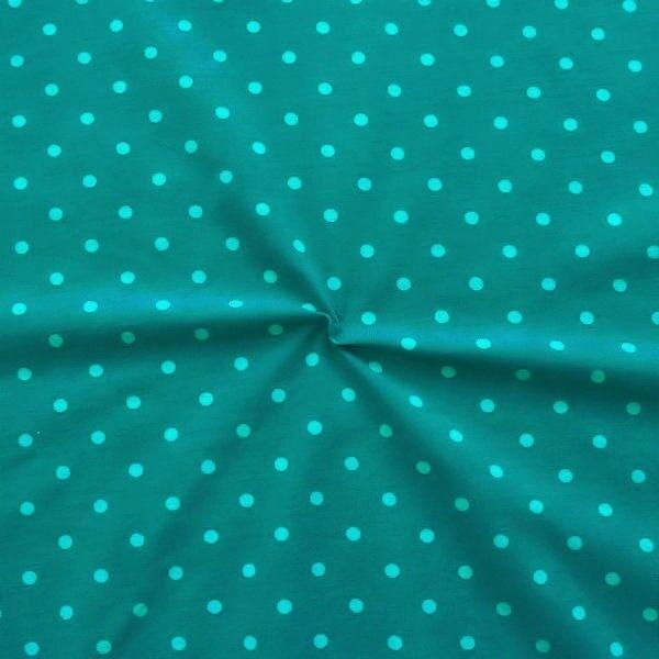 """Baumwoll Stretch Jersey """"Classic Dots 2"""" Farbe Petrol-Türkis"""