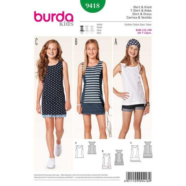 Burda 9418 Schnittmuster für Tanktop, Shirt und Jerseykleid