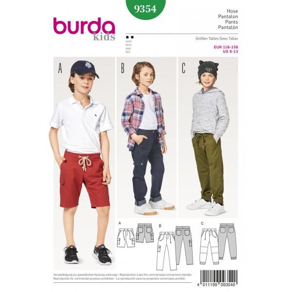 Burda 9354 Schnittmusterbogen für Shorts und Hose in zwei Varianten