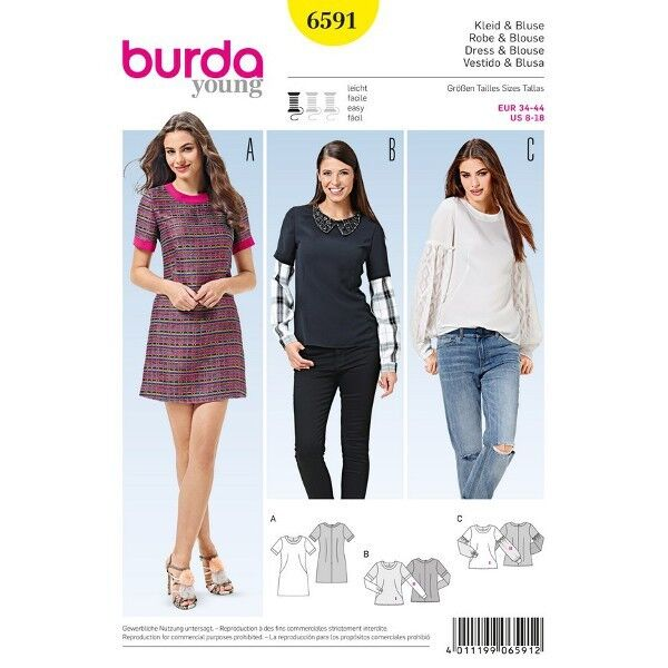 Kleid - Kontrastblenden - Bluse - Two in One Ärmel, Gr. 34 - 44, Schnittmuster Burda 6591