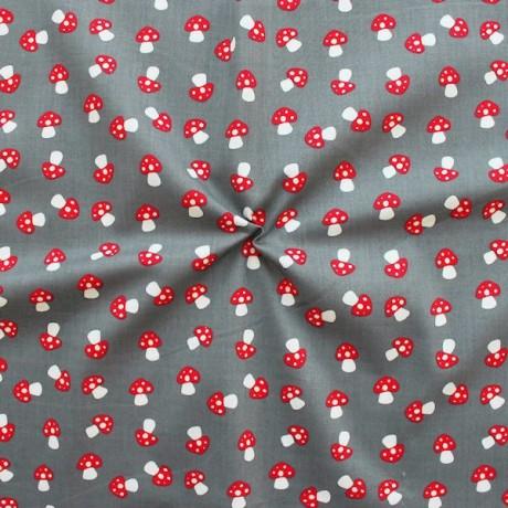 Baumwolle Popeline Fliegenpilze Grau