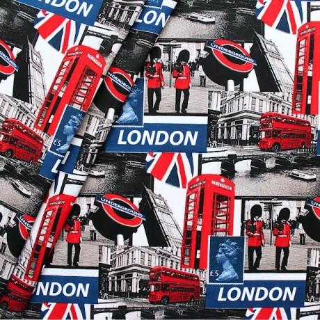Baumwolle Popeline London Blau-Rot-Grau