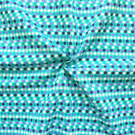 Baumwolle Popeline Punkte Mint-Grün Lila
