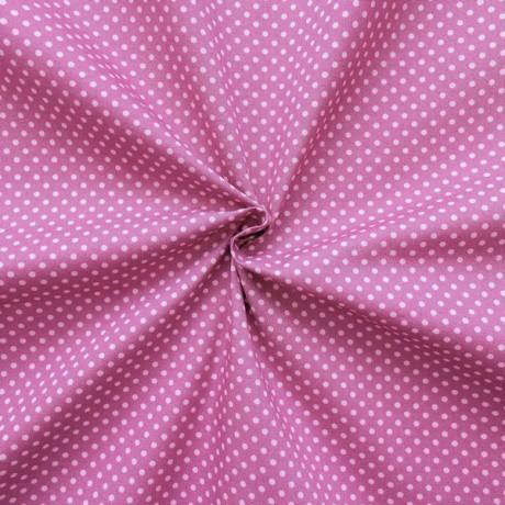 Baumwoll Popeline Tupfen Violett Rosa