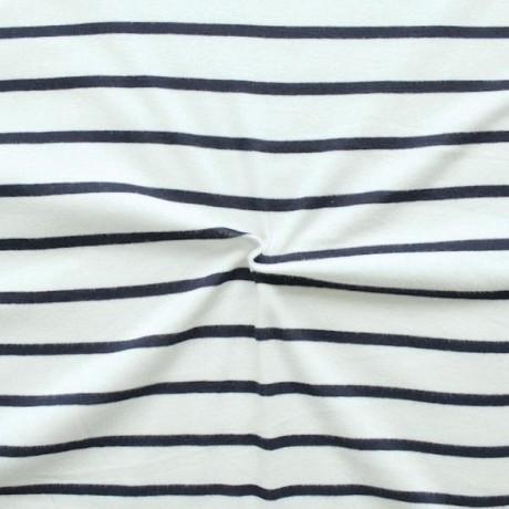 Baumwoll Jersey Sailor Stripes Woll-Weiss Blau