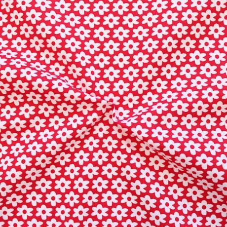 Baumwolle Popeline Blümchen Rot